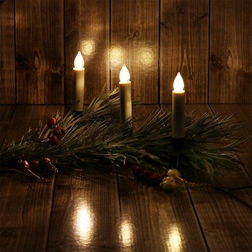 Com-Four® Velas LED como luces de Navidad, velas con pinzas, inalámbricas, con mando a distancia