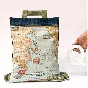 Mochila Mapa. Bolso personalizado de tela mundo con cremallera. Práctico y ligero.