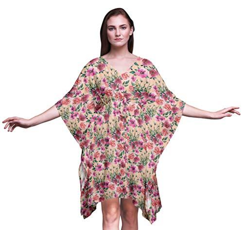 Bimba Blume der Lange Strandkaftan-Beachwearbikini der Frauen bedeckt Maxikleid-S-L -