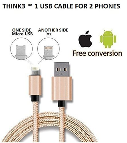 THINK3TM THINK3 ™ 2 in 1 Magic Reversible High Quality USB Cable - Single Connector for Android and Apple