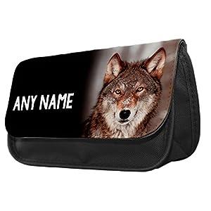 Personalised Grey Wolf Animal Pencil Case / Make up Bag 145 2018