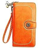 Leder Geldbörse für Damen | Reißverschluss Geldbeutel groß | Frauen Portemonnaie aus Leder | Modernes Design Viele Kartenfächer | Mit Handyfach Orange, Gelb, Blau und Rot