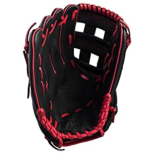 Wilson A36012Zoll rechten Baseball Handschuh, schwarz/rot, 30,5 cm