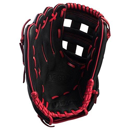 Wilson A36012Zoll rechten Baseball Handschuh, schwarz/rot, 30,5 cm -
