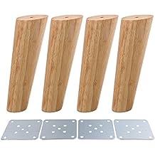BQLZR - Patas de madera para sofás y muebles, diseño oblicuo, 4 unidades, M4170724025