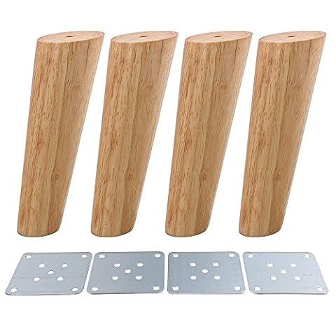 BQLZR Couleur bois oblique conique fiable des Armoires de meubles en bois Pieds Pieds Canapé Lot de 4,