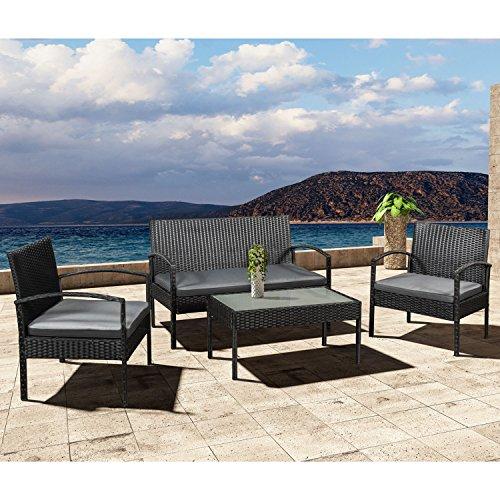 Polyrattan Gartenmöbel Sitzgruppe Trinidad schwarz mit dunkelgrauen Bezügen | ArtLife
