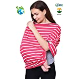 Feather Hug 360° Nursing Cover For Breastfeeding Mother, Women, Mom, Multi Use, Feeding Cloak,Poncho, Scarf, Ups, Wrap, Breathable, Canopy, Babysitting, Maternity, Kurti, Shawl, Apron, Poplin ( Signature Pink Stripes)