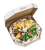 Pizza Socks Box 4 Paar MIX Italienische Hawaii Vegetarische Pizza LUSTIGE Socken - Ideal als Originelle GESCHENK - Bunt Socken - BAUMWOLLE Reich - Fun Gadget| Größen EU 36-40, Made in EUROPE