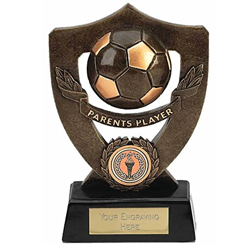 "7"" Antique Gold Celebration Shield7 Parents Player Football Award with FREE engraving up to 30 letters A803"