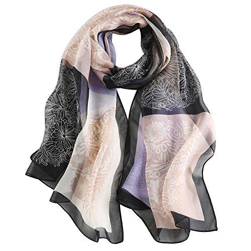 Seidenschal Damen Halstuch 100% Seiden Schal Elegante Seidentuch Hautfreundlich Anti-Allergie 175 * 65cm (Schwarz und Weiß) MEHRWEG