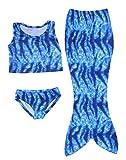 Hengsong Filles 3pcs Maillot de Bain Sirène Costume Enfants (Top + Culotte + Jupe)