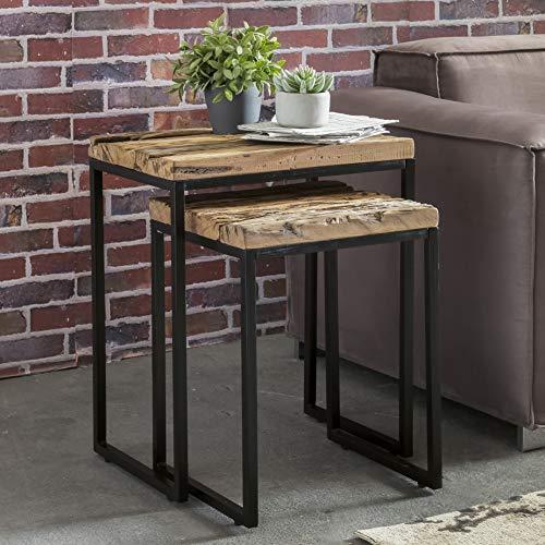 KS-Furniture BELLARY Lot de 2 Tables d'appoint Design en Bois Massif avec Pieds métalliques
