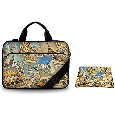 Silent Monsters borsa protettiva laptop 15,6 pollici in tela con tasca per accessori e tappetino mousepad, Design: vintage travel