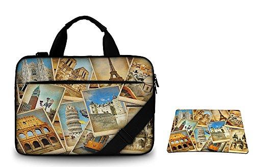 Silent Monsters borsa protettiva laptop 17,3 pollici in tela con tasca per accessori e tappetino mousepad, Design: vintage travel