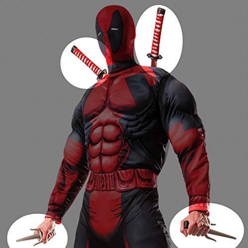 Kind Kit Kostüm Ninja - Amakando Deadpool Kostüm-Accessoires / Schwarz-Grau / Ninja-Doppelschwert mit Samurai-Messer & Rückentrage / Genau richtig zu Mottoparty & Kostümfest