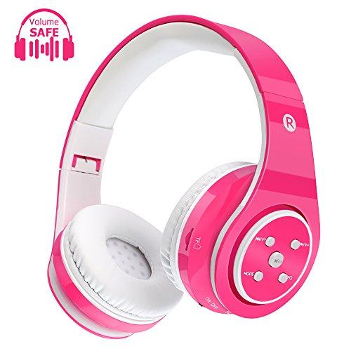 Cuffie senza fili per bambini Cuffie Bluetooth Safe Volume Limited, tempo di riproduzione lungo 6-8h, slot per scheda SD, compatibile con Ipad Cellphone Pc Tablet (rosa)