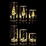 Online-Fuchs 3 Windlichter aus Glas im Set mit LED Lichterkette und Timer - Deko für Herbst, Winter & Weihnachten