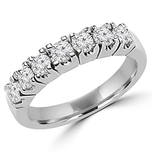 2/3 CTW Diamond Semi Eternity Anniversary Band Ring in 14K White Gold
