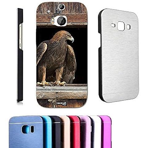 CASELABDESIGNS COVER CASE ALLUMINIO AQUILA FINESTRA PER HTC ONE M8 METALLO - COPERTURA MASSIMA PROTEZIONE (1 Posteriore Finestra Grafica)
