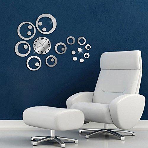 Vetrineinrete® orologio da parete adesivo sticker componibile tridimensionale 3d effetto specchio moderno decorazione murales cerchi 0434s