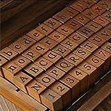 Gummi-Stempel, Vintage-Holzkiste, Alphabet, Buchstaben, Zahlen, 70 Stück, Wie abgebildet, Print Form