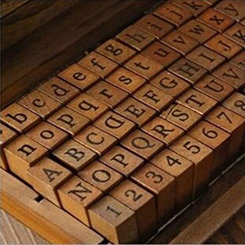 Gummi-Stempel, Vintage-Holzkiste, Alphabet, Buchstaben, Zahlen, 70 Stück, Wie abgebildet, Cursive