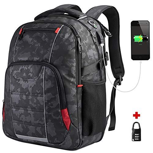Herren Arbeit Laptop Rucksack für 17 Zoll Laptop,Damen Business Notebook Computer Rucksack mit USB-Ladeanschluss Wasserdicht Travel Backpack,Daypack für Schule Einkaufen Reisen