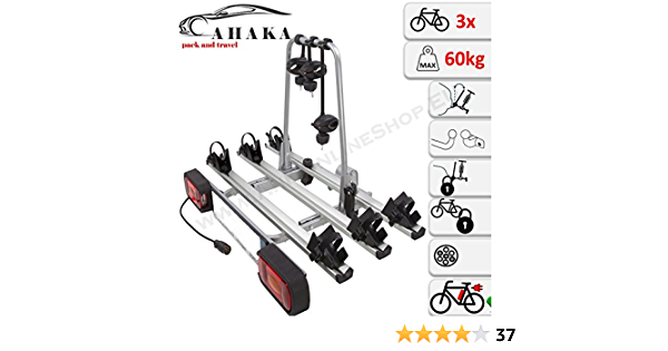 Ahiro3 Anhängerkupplung Fahrradträger Für 3 Fahrräder Abklappbar Abschließbar Aus Stahl Und Aluminium Auto