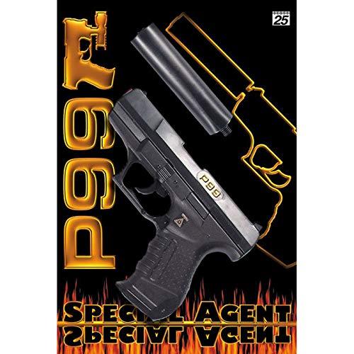 PARTY DISCOUNT Pistole Special Agent P99 mit Schalldämpfer -