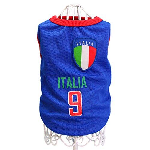 KayMayn Pet Jersey Football Lizenzprodukt Hund Jersey, kommt in 6Größen, Hund Kleidung Shirt Hunde Kostüm National Fußball-Weltmeisterschaft, Outdoor Sportswear Sommer Atmungsaktiv S Italy