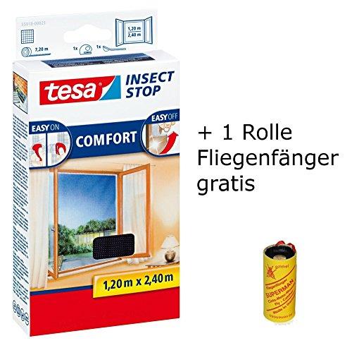 tesa Insect Stop Comfort Fliegengitter für bodentiefe Fenster/Insektenschutz mit Selbstklebendem Klettband in Anthrazit + 1 Rolle Fliegenfänger Gratis (2X 120 cm x 240 cm)