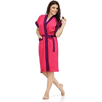SWEETNIGHT Women's Cotton Bath Gown with Robe (Pink, Standard Size)