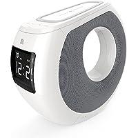MJW Inalámbrico Carga Bluetooth Altavoz Despertador 3 En 1 Qi Cargador Inalámbrico Bluetooth Estéreo Reloj Radio