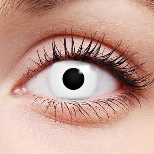 Farbige Kontaktlinsen - Tötlicher Blick - Jahreslinsen Crazy Fasching Zombie Dämonen Halloween Ohne Stärke FUN - Definition des Wortes Schocken (White Out) (Für Wörter E Halloween)