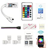 LED Licht Controller, Fixget DC 5-28V 4A IR Remote Controller WiFi LED Strip Controller Multicolor Dimmer für RGB/GBW/RGBWC LED Light Strip Wireless IOS & Android Smartphone App Ferngesteuert