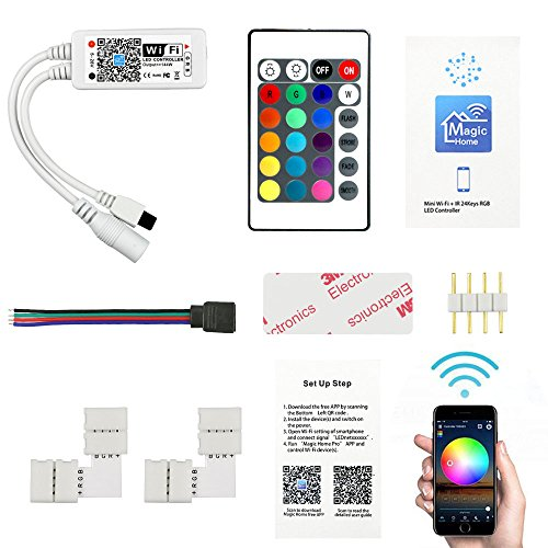 LED Licht Controller, Fixget DC 5-28V 4A IR Remote Controller WiFi LED Strip Controller Multicolor Dimmer für RGB/GBW/RGBWC LED Light Strip Wireless IOS & Android Smartphone App Ferngesteuert (Wifi Remote Licht)