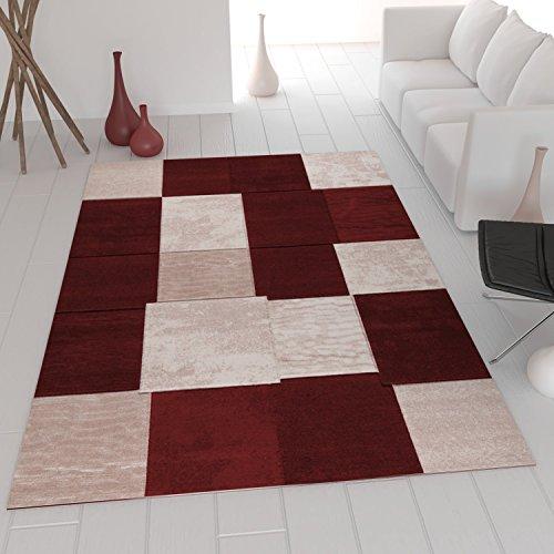Moderner Designer Teppich in Wein Rot Kariert und Meliert sehr dicht gewebt VIMODA; Maße: 160x230 cm