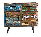 SIT-Möbel Miami 5209-98 Kommode mit je 2 Türen & Schubladen, recyceltes Altholz, bunt lackiert, 90 x 35 x 82 cm