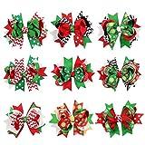 Toyvian 9pcs Weihnachten Haarspangen Haarschleife Clips mit bunten Mustern Haarspangen Haarnadeln Xmas Holiday Party Haarschmuck für Baby Kinder Mädchen Kleinkind