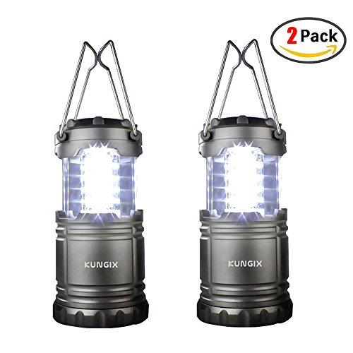 2 Stück Camping Laterne,Kungix Faltbare LED Camping lampe, Garten Laterne mit 3 AA Batterien, Ideal für Terrasse, Camping, Wandern, Notfall, Outdoor-Aktivitäten, Schwarz