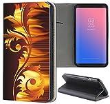 Samsung Galaxy S3 / S3 Neo Hülle Premium Smart Einseitig Flipcover Hülle Samsung S3 Neo Flip Case Handyhülle Samsung S3 Motiv (1226 Abstract Braun Gelb)