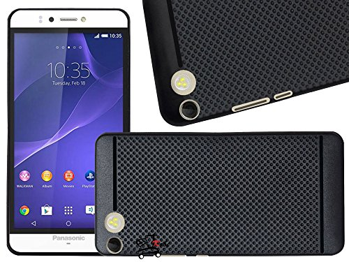 Jkobi(TM) Classic DOTTED DESIGNED Soft Rubberised Back Case Cover For PANASONIC P55 NOVO-BLACK