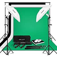 CRAPHY Photo Studio Umbrella 2x125W Continuous Lighting Kit, Green Screen Kit with 2 Photo Umbrellas, 3 Studio Backdrops 2x3m and Backdrop Stand Kit, 2 Light Bulbs 125W and Portable Carrying Bag