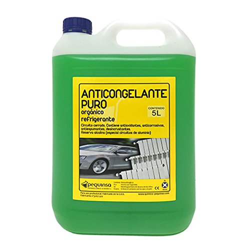 Organic Pure-Concentrated Antifreeze. Up to -88ºC. Container 5 Liters. Green color. Suitable for closed circuits / cooling / heating.