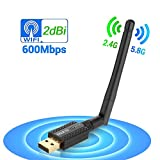 Wireless USB Wifi Adapter AC 600Mbit/s Dualband (2.4G/150Mbps+5G/433Mbps) Wifi Dongle Adaptor 2dBi High-gain Antenna Network Card for PC Laptop Support Windows 10/7/8/XP/VISTA Mac OS X/Linux