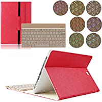 Custodia per Samsung Galaxy Tab S2 9.7, kvago 7 colori Retroilluminazione Tastiera retroilluminata staccabile sottile elegante 3-Folding protettiva in pelle PU con tastiera Wireless Bluetooth, per tablet Samsung Galaxy Tab S2 9.7 inch SM-T815 T810 rosso Red