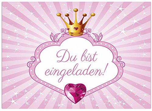 16 Einladungskarten zum Kindergeburtstag - Motiv Prinzessin Rosa - für Kinder,Mädchen,Feier Geburtstagseinladungen im Set