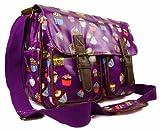 Womens Girls Cupcakes Oilcloth Uni School College Messenger Satchel Shoulder Bag (Large, Purple)