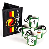 4 Mini Krug mit Spruch Fußball - Schnapsglas mit Henkel und Fussballbörse